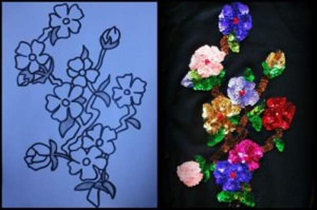 Разноцветные цветы из пайеток на трикотаже