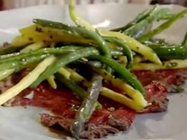 Карпаччо с салатом из фасоли — Рецепты Джейми Оливера