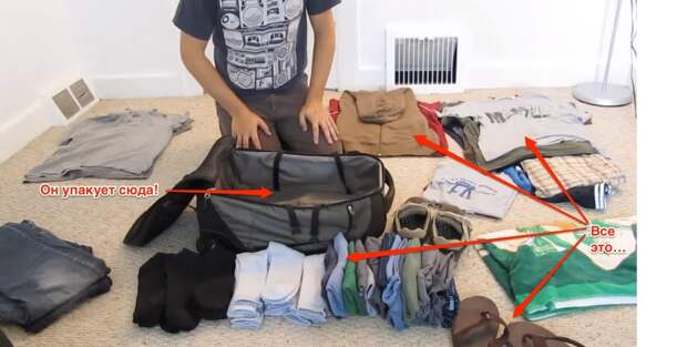 Собираем чемодан, как профессионал: Как упаковать месячный запас одежды в небольшую ручную кладь