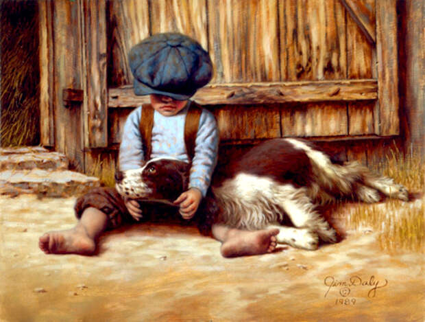Дети и их домашние питомцы на душевных картинах Джима Дейли