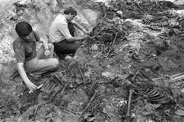 Раскопки на месте массового захоронения жертв сталинских репрессий