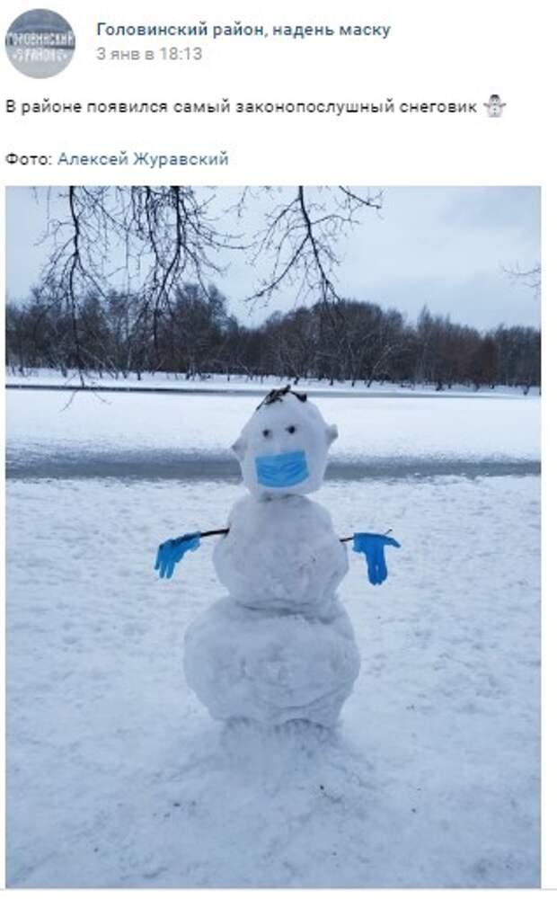 Фото дня: самый законопослушный снеговик