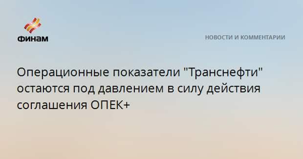 """Операционные показатели """"Транснефти"""" остаются под давлением в силу действия соглашения ОПЕК+"""