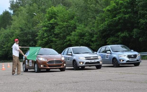 «60 часов «За рулем»: Ford Fiesta, Datsun mi-DO, Lada Granta. День первый