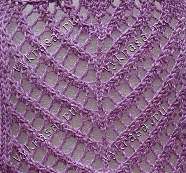 Фото: узор для вязания спицами ажурная полоса