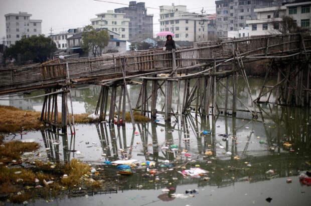 24. Мост через забитую мусором воду, округ Вэньчжоу, провинция Чжэцзян загрязнение, китай, экология