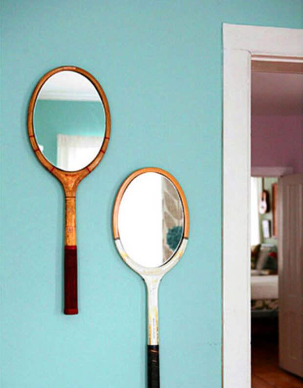 оправа для зеркала из теннисной ракетки