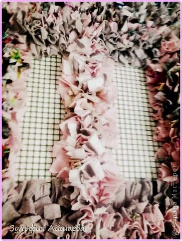 Интерьер Мастер-класс Ткачество ручное Коврик из футболок Сетка Ткань фото 8