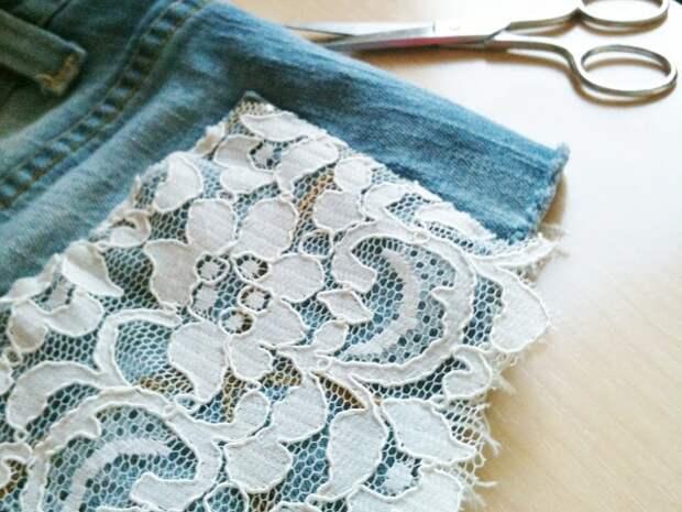 Кружевные шорты из джинсовых