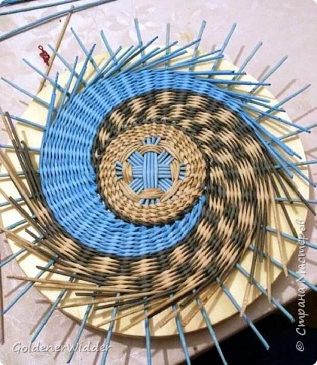 Мастер-класс Плетение Панно 40 см Спиральное плетение Бумага газетная Трубочки бумажные фото 18
