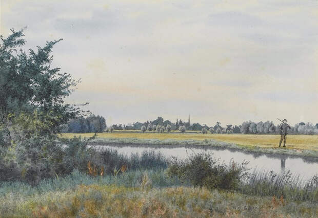 Аус, Сент-Айвс Кембриджшир (The Ouse, St. Ives, Cambridgeshire). 1889 (656x451, 284Kb)