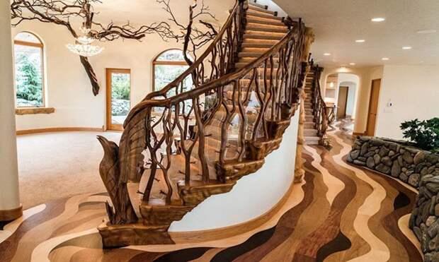 Полы из клена и вишни создают иллюзию течения oregon, властелин колец, дизайн, дом, мир, толкин, фото