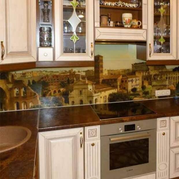 фотообои на кухне под скинали (стеклянный фартук для рабочей стенки)