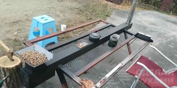 Горизонтальная печь из квадратной трубы с двумя столешницами