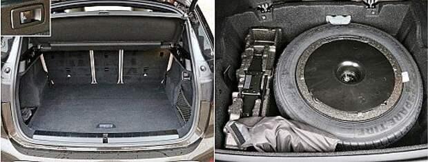 Объем прямоугольного багажника BMW – рекордный в тестовой тройке. Есть кнопки откидывания спинки заднего ряда. В подполье, где размещена докатка, предусмотрено хранилище для водительской мелочовки. 1 2