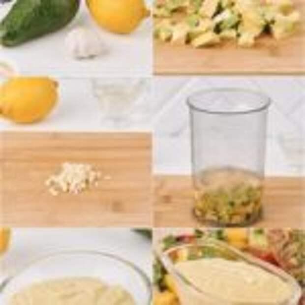 Чесночно-лимонный соус из авокадо.