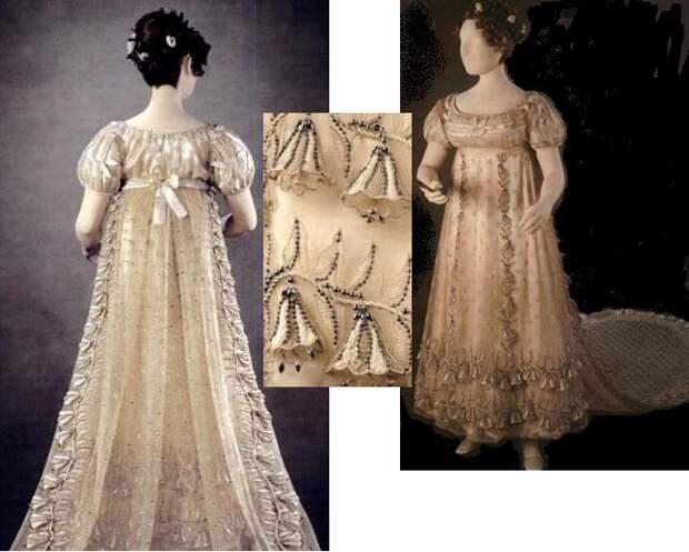 Платье сделано из тончайшей ткани, а его шлейф, передняя часть и подол отделаны десятками колокольчиков – и не просто вышитых, а