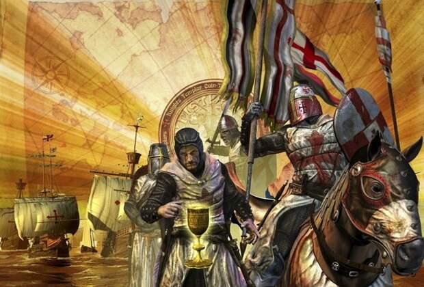 По легенде, именно рыцари Храма охраняли Чашу Святого Грааля.  С картины художника. Фото из открытых источников