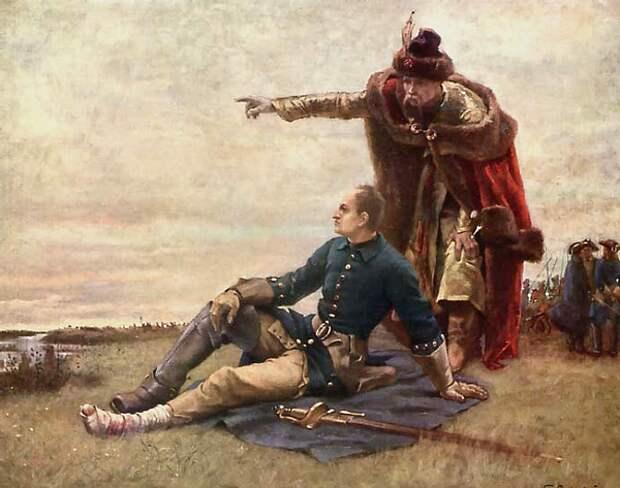 Раненный Карл XII вместе с Мазепой перед Полтавской битвой