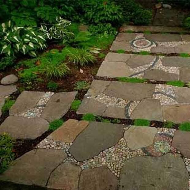 фото садовых дорожек с мозаикой