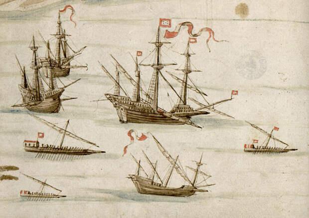 Португальские галеон, нефы (naõ), галера, а также некий малый парусник (каравелла или альбетоса) и две лёгкие галеры, возможно, две фусты или фуста и галиот. Зарисовки в журнале Кастро 1540–1541 годов - Диу: финал осады | Warspot.ru
