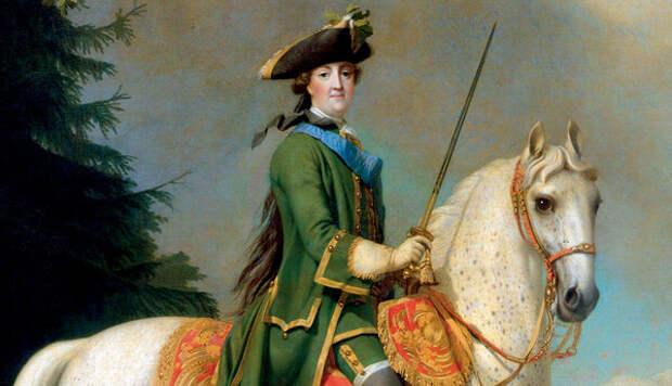 Екатерина II ничего не жалела для своих фаворитов.  Вигилиус Эриксен «Портрет Екатерины II верхом» (После 1762 года)