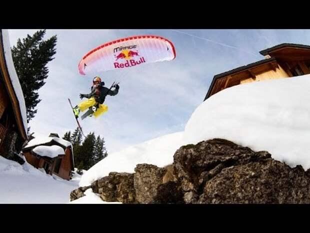 Red Bull: спортсмены спускаются с горы на лыжах и парашютах
