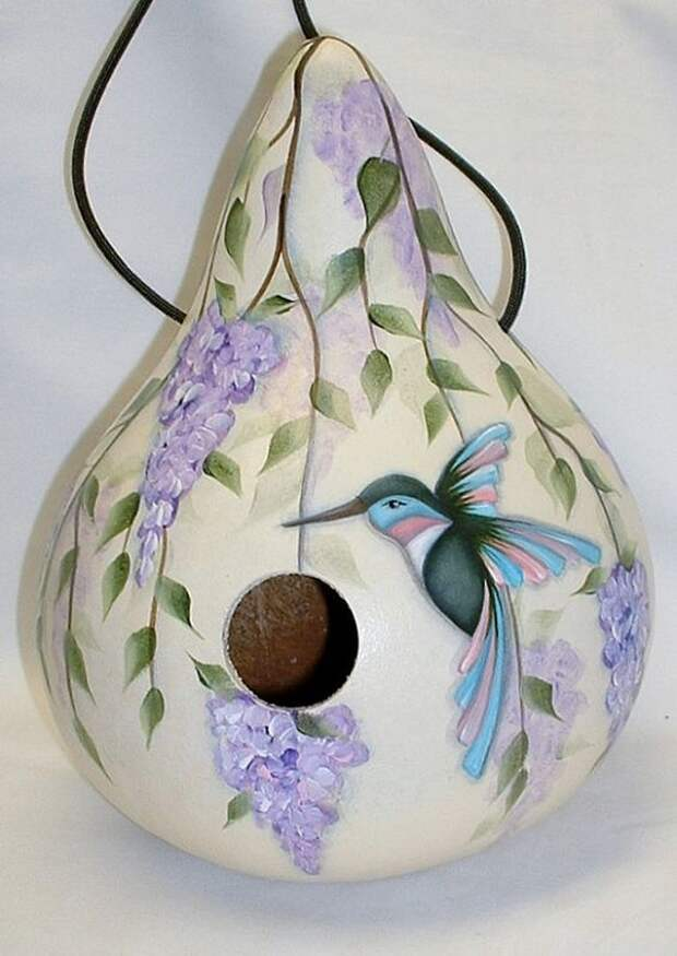 Hummingbird with Wisteria Flowers Gourd by FromGramsHouse on Etsy: