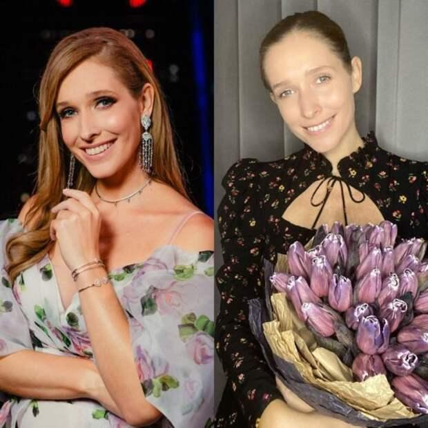 Екатерина Осадчая с макияжем и без