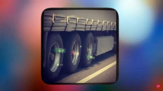 Видео: Зачем дальнобойщики цепляют на колеса бутылки