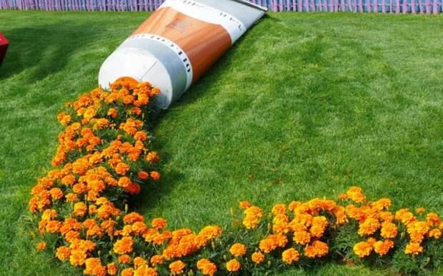 Одиночные клумбы в дизайне сада