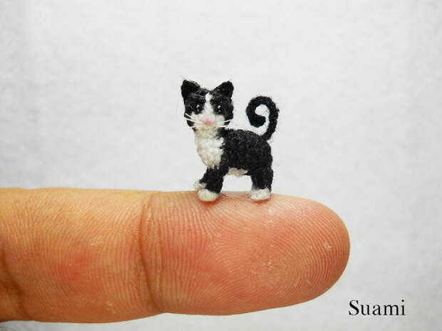 Black White Tuxedo Cat Kitten - Micro Crocheted Cats - Made to Order