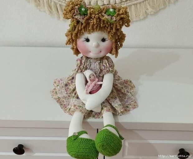 Текстильная куколка Кудряшка своими руками