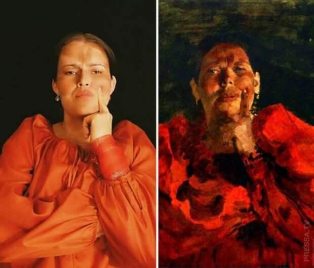Женщина воссоздаёт женские образы известных картин