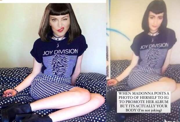 Мадонну высмеяли за фотошоп: певица приставила свою голову к телу другой девушки