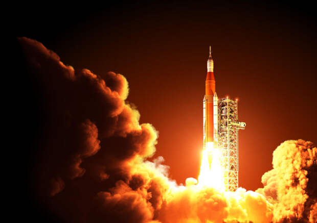 Space Launch System Takes Off At Night