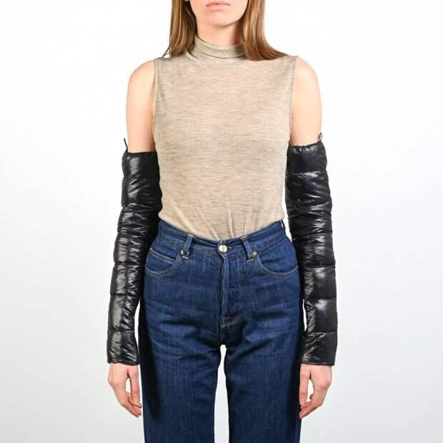 Черные стеганые рукава со вставкой-резинкой