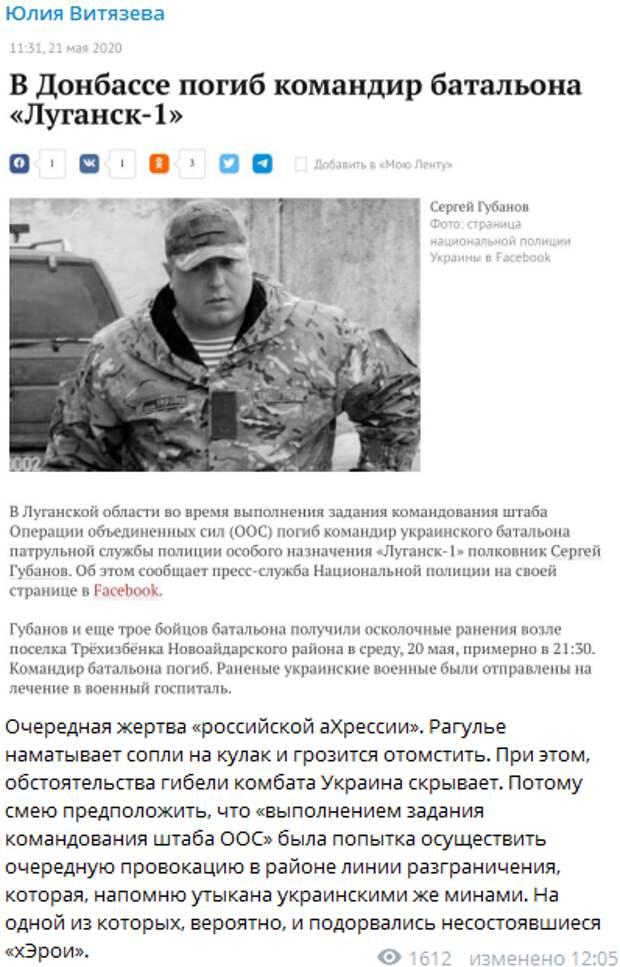 В Донбассе на «секретном задании» погиб комбат нацбатальона «Луганск-1»
