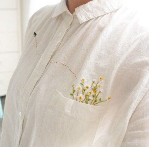 Подборка цветочной вышивки в карманчиках блузок