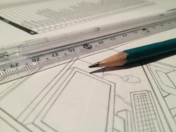 Строительный чертеж, линейка и карандаш. Фото: pixabay.com
