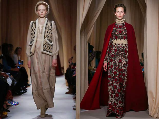 Новая коллекция одежды от Валентино в этническом славянском стиле