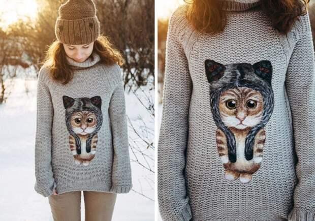 Валяние на одежде: нетривиальный декор свитеров и джемперов
