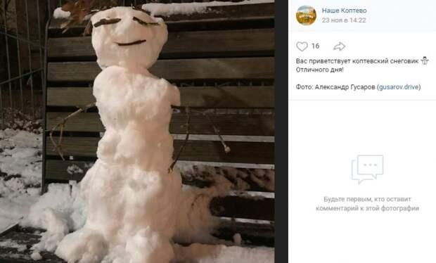 Фото дня: первый в зимнем сезоне коптевский снеговик