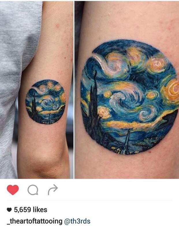 Татуировки поклонников таланта Винсента Ван Гога