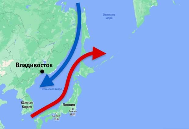 Почему в Японии гораздо теплее, чем во Владивостоке, хотя они на одной широте. Объясняю на пальцах