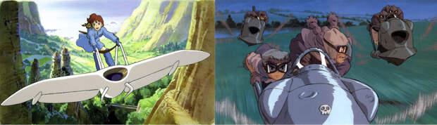Фантастические летательные аппараты в ранних фильмах Миядзаки «Навсикая из Долины ветров» (слева) и «Небесный замок Лапута» (справа) - «Лучше быть свиньёй, чем фашистом»   Warspot.ru