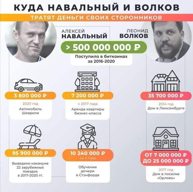 Куда Навальный и Волков тратят деньги своих сторонников