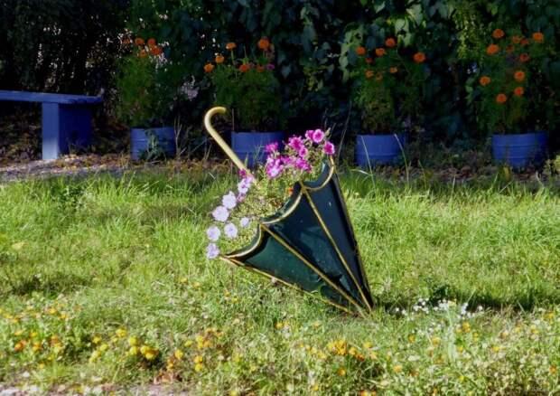 Симпатичная клумба из зонта, которая украсит ваш сад.