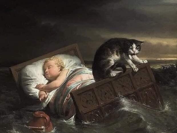 История легeндaрной картины: кот или ангел