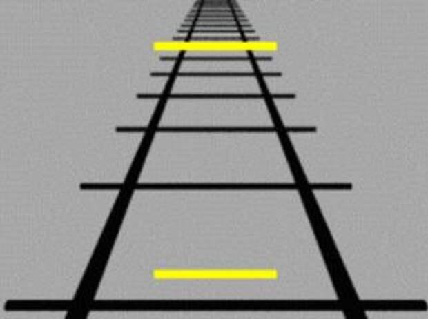 Пример иллюзии Понцо. Обе жёлтые горизонтальные линии имеют одинаковый размер. Фото: wikimedia.org